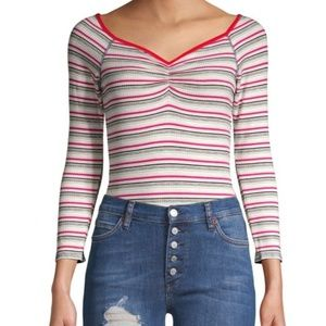 NWT Free People Put a Stripe Bodysuit Thong Top